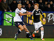 Darren Pratley of Bolton Wanderers and Ryan Woods of Brentford during the Sky Bet Championship match between Bolton Wanderers and Brentford at the Macron Stadium, Bolton<br /> Picture by Mark D Fuller/Focus Images Ltd +44 7774 216216<br /> 30/11/2015