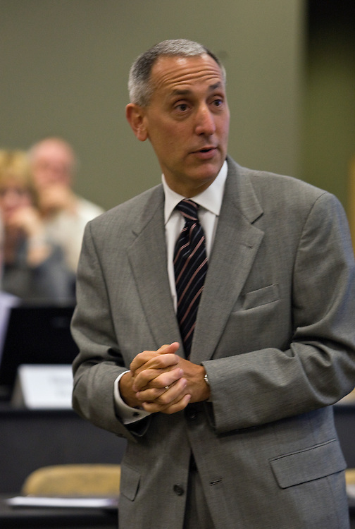 During his visit to the Faculty Senate in Walter Hall, Chancellor Eric D. Fingerhut, the seventh Chancellor of the Ohio Board of Regents, listens to a question presented by an Ohio University faculty member, on Monday night, September 8, 2008.