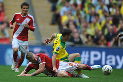 Adam Clayton Middlesbrough brings down Norwich Wes Hoolahan, Middlesbrough v Norwich, Sky Bet Championship, Play Off Final, Wembley Stadium, Monday  25th May 2015