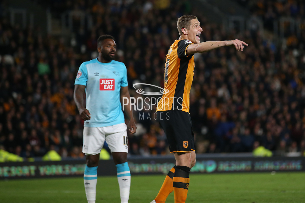 Hull City defender Michael Dawson (21)  during the Sky Bet Championship play-off 2nd leg match between Hull City and Derby County at the KC Stadium, Kingston upon Hull, England on 17 May 2016. Photo by Simon Davies.