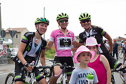 Leah Kirchmann (CAN) of Liv-Plantur Cycling Team poses with her team mates and local kids after the Giro Rosa 2016 - Stage 1. A 104 km road race from Gaiarine to San Fior, Italy on July 2nd 2016.