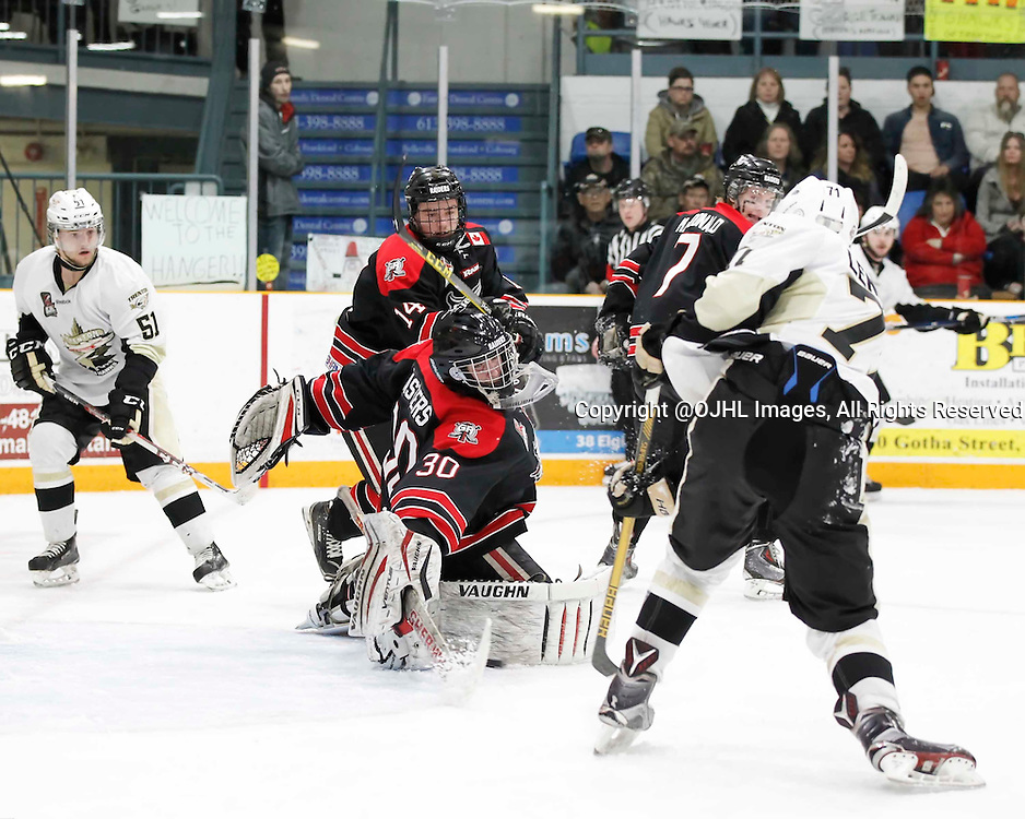 TRENTON, - Apr 17, 2016 -  Ontario Junior Hockey League game action between the Trenton Golden Hawks and the Georgetown Raiders. Game 3 of the Buckland Cup Championship Series, Andrew Masters #30 of the Georgetown Raiders makes the save during the first period at the Duncan Memorial Gardens, ON. (Photo by Amy Deroche / OJHL Images)