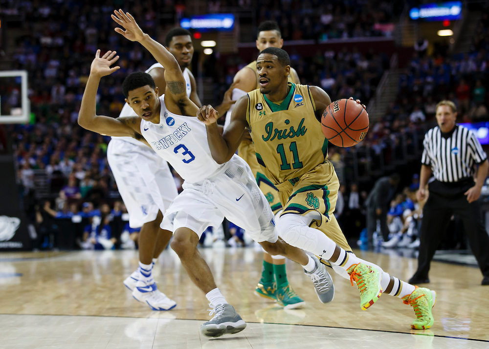 Mar 28, 2015; Cleveland, OH, USA; Notre Dame Fighting Irish guard Demetrius Jackson (11) dribbles against the Kentucky Wildcats in the finals of the midwest regional of the 2015 NCAA Tournament at Quicken Loans Arena. Mandatory Credit: Rick Osentoski-USA TODAY Sports