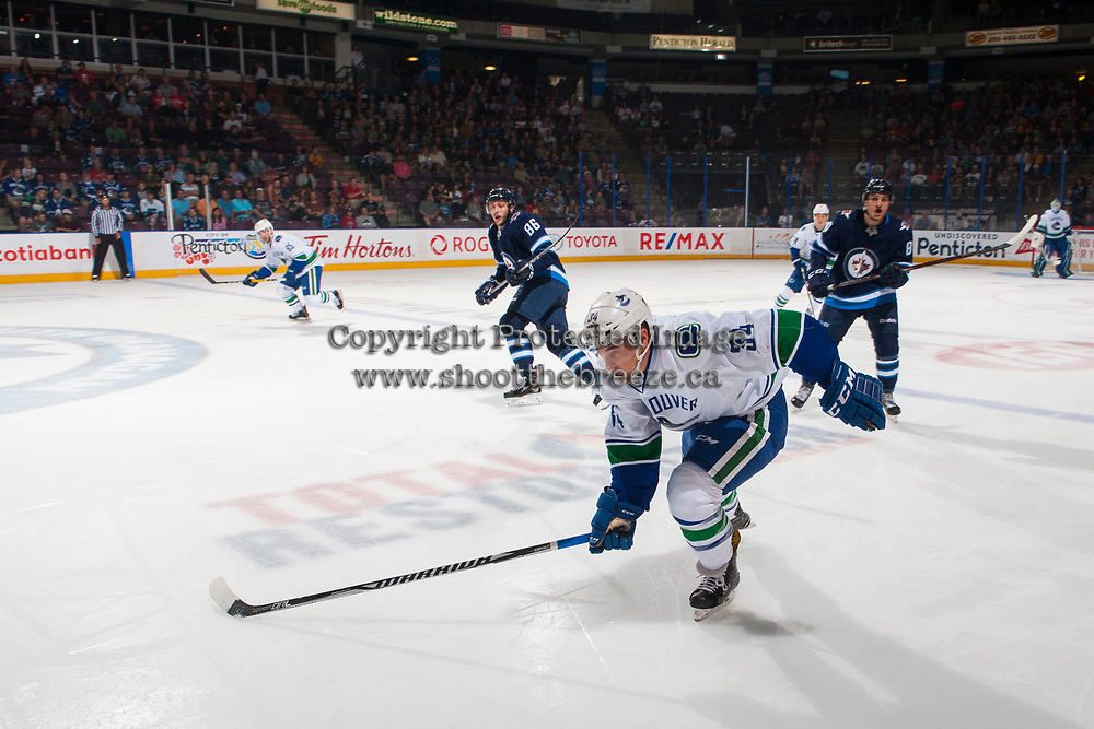 PENTICTON, CANADA - SEPTEMBER 8: Jakob Stukel #34 of Vancouver Canucks skates for the puck against the Winnipeg Jets on September 8, 2017 at the South Okanagan Event Centre in Penticton, British Columbia, Canada.  (Photo by Marissa Baecker/Shoot the Breeze)  *** Local Caption ***