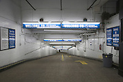 entrance to an underground parking garage in New York City