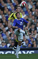 Photo: Andi Thompson.<br />Everton v Manchester City. The Barclays Premiership. 30/09/2006.<br />Everton's James Beattie is beaten to the ball by Richard Dunne.