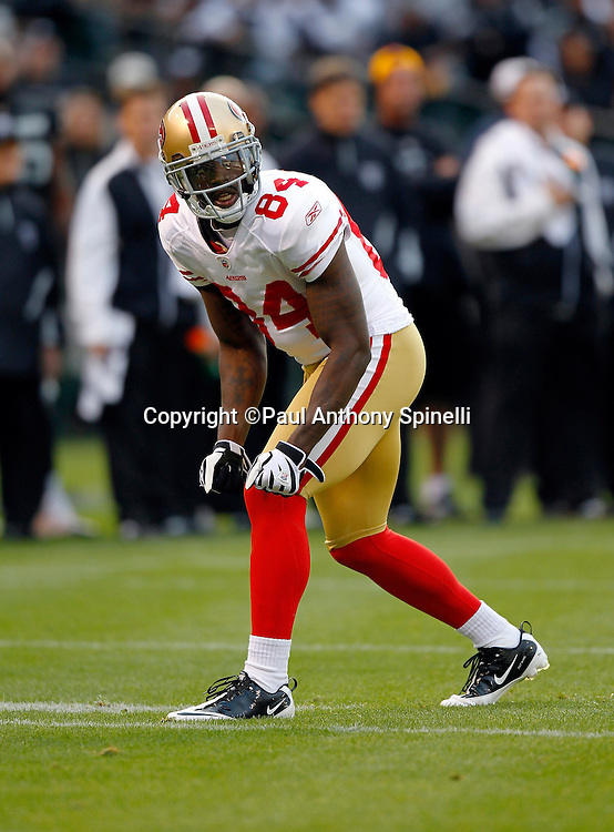 San Francisco 49ers wide receiver Josh Morgan (84) goes out for a pass during the NFL preseason week 3 football game against the Oakland Raiders on Saturday, August 28, 2010 in Oakland, California. The 49ers won the game 28-24. (©Paul Anthony Spinelli)