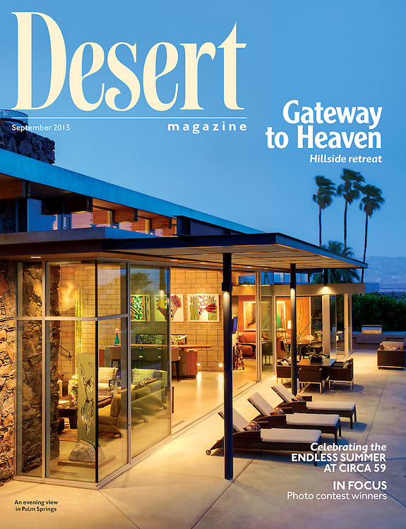 Desert Magazine cover story. Story  about Palm Springs modern home owned by Andy Linsky and designed by architect Ana Escalante
