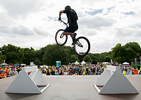 Stunt cyclist Andrei Burton attempts to break a Guinness World Record in the London Trials Championships, presented by Buxton, at this year's Prudential RideLondon FreeCycle 29/07/2017<br /> <br /> Photo: Tom Lovelock/Silverhub for Prudential RideLondon<br /> <br /> Prudential RideLondon is the world's greatest festival of cycling, involving 100,000+ cyclists – from Olympic champions to a free family fun ride - riding in events over closed roads in London and Surrey over the weekend of 28th to 30th July 2017. <br /> <br /> See www.PrudentialRideLondon.co.uk for more.<br /> <br /> For further information: media@londonmarathonevents.co.uk