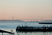 USA, NY, New York City, Verrazano Narrows Bridge and Staten Island in the background