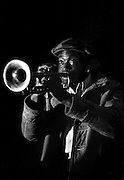 Barry George Musician with his trumpet, High Wycombe, UK, 1980s.