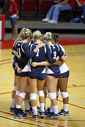 29 AUG 2009: The Oral Roberts Golden Eagle starters huddle up. The Redbirds of Illinois State were defeated by the Golden Eagles of Oral Roberts in 4 sets during play in the Redbird Classic on Doug Collins Court inside Redbird Arena in Normal Illinois