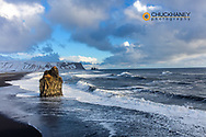 Sea Stack and black sand beach near Vik, Iceland