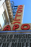 Apollo theater facade street sign in Harlem New York City