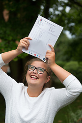 "© Licensed to London News Pictures. 15/08/2016. Sutton Coldfield, West Midlands,UK. Bishops Vesey's Grammar School pupils celebrating their A level results. Pictured, Molly Willars, 18, Four A stars, and a place at Oxford studying Maths. Headmaster Dominic Robson said, ""The pupils had done amazingly well, achieving 80% A star and B grades especially given the change to the marking of the A level system this year. Photo credit: Dave Warren/LNP"