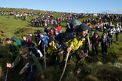 © licensed to London News Pictures. Okehampton, UK  14/05/2011 Thousands of young people scramble for the best position at the start of the Ten Tors event on Dartmoor today (Sat). Please see special instructions for usage rates. Photo credit should read London News Pictures