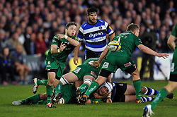 Darren Allinson of London Irish passes the ball - Photo mandatory by-line: Patrick Khachfe/JMP - Mobile: 07966 386802 24/04/2015 - SPORT - RUGBY UNION - Bath - The Recreation Ground - Bath Rugby v London Irish - Aviva Premiership