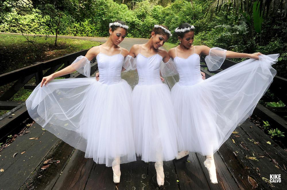 MR photo of professional dancers Panamanian Carla Lozano, Colombian Oriana Herrera and Panamanian Leydi Barrera gracely walking  on Soberania National Park in Panama.