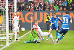 14.05.2016, WWK Arena, Augsburg, GER, 1. FBL, FC Augsburg vs Hamburger SV, 34. Runde, im Bild Treffer zum 1:3 mit v.l. Marwin Hitz #35 (FC Augsburg), Alfred Finnbogason #27 (FC Augsburg), Nicolai Muller #27 (Hamburger SV HSV) und Michael Gregoritsch #23 (Hamburger SV HSV) // during the German Bundesliga 34th round match between FC Augsburg and Hamburger SV at the WWK Arena in Augsburg, Germany on 2016/05/14. EXPA Pictures © 2016, PhotoCredit: EXPA/ Eibner-Pressefoto/ Hierm<br /> <br /> *****ATTENTION - OUT of GER*****