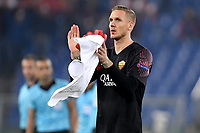 Patrick Robin Olsen of AS Roma waves fans at the end of the Uefa Champions League 2018/2019 Group G football match between AS Roma and CSKA Moscow at Olimpico stadium Allianz Stadium, Rome, October, 23, 2018 <br />  Foto Andrea Staccioli / Insidefoto