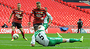 Louis Moult opens the score during the FA Carlsberg Trophy Final match between North Ferriby United and Wrexham FC at Eon Visual Media Stadium, North Ferriby, United Kingdom on 29 March 2015. Photo by Michael Hulf.