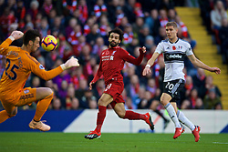 LIVERPOOL, ENGLAND - Sunday, November 11, 2018: Liverpool's Mohamed Salah sees his shot saved by Fulham's goalkeeper Sergio Rico during the FA Premier League match between Liverpool FC and Fulham FC at Anfield. (Pic by David Rawcliffe/Propaganda)