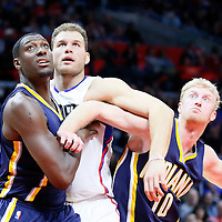 02 December 2015: Los Angeles Clippers forward Blake Griffin (32) vies for the rebound with Indiana Pacers center Ian Mahinmi (28) and Indiana Pacers forward Chase Budinger (10) during the Indiana Pacers 103-91 victory over the Los Angeles Clippers, at the Staples Center, Los Angeles, California, USA.
