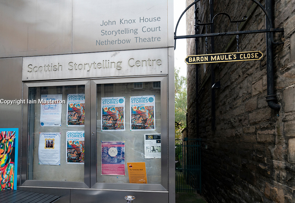 Exterior view of the Scottish Storytelling Centre  on the Royal Mile ( High Street) in Old Town of Edinburgh, Scotland, UK