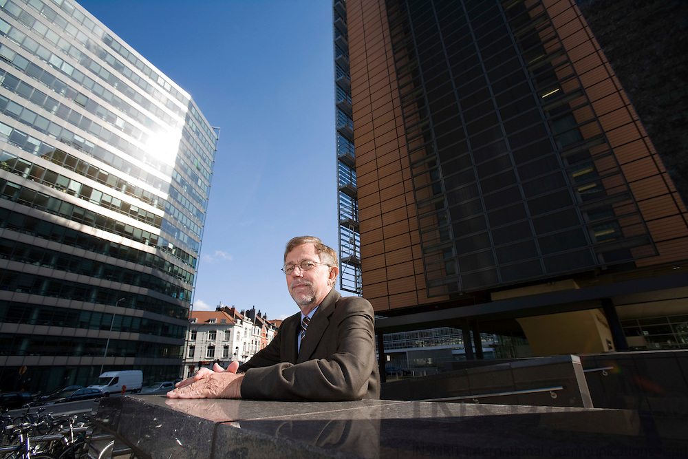BRUSSELS - BELGIUM - 16 APRIL 2008 -- Poul Skytte CHRISTOFFERSEN, Head of Cabinet for EU Commissioner for Agriculture and Rural Development, Mariann Fischer BOEL. Here with the Berlaymont in the back and Charlemagne Building at the left. Photo: Erik Luntang
