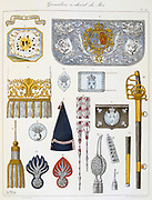 French military accoutrements including sword of the royal mounted grenadiers.  From 'Histoire de la maison militaire du Roi de 1814 a 1830' by Eugene Titeux, Paris, 1890.
