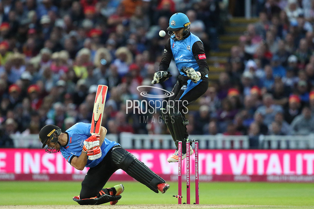 Sussex's Luke wright & Worcestershire Rapids Ben Cox Wicket Keeper during the final of the Vitality T20 Finals Day 2018 match between Worcestershire rapids and Sussex Sharks at Edgbaston, Birmingham, United Kingdom on 15 September 2018.