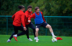 CARDIFF, WALES - Sunday, October 14, 2018: Wales' Joe Allen (R) and Tyler Roberts (C) during a training session at the Vale Resort ahead of the UEFA Nations League Group Stage League B Group 4 match between Republic of Ireland and Wales. (Pic by David Rawcliffe/Propaganda)