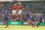Header wide by Middlesbrough midfielder George Saville (22)  during the EFL Sky Bet Championship match between Middlesbrough and Stoke City at the Riverside Stadium, Middlesbrough, England on 19 April 2019.