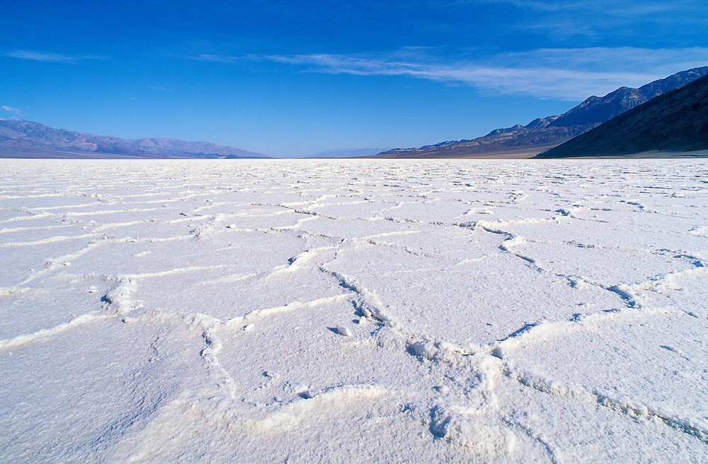 Salt flat formations in Badwater Basin, Death Valley National Park, California.