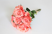 Silk Pink Rose Bouquet on white background