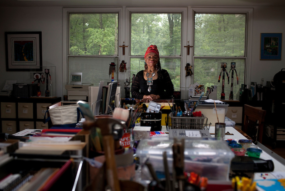"ENGLEWOOD, NJ - June 07, 2013 : Civil rights political artist Faith Ringgold, 82, in her studio at her home in Englewood, NJ on June 07, 2013. Faith Ringgold was one of the leaders of the Black Arts Movement of the 1960's, gaining worldwide prominence for her quilts. ""American People, Black Light: Faith Ringgold's Paintings of the 1960's"" is a retrospective of race, reconciliation, activism and feminism, from one of the most tumultuous periods in American history. (Photo by Melanie Burford/Prime for The Washington Post)"