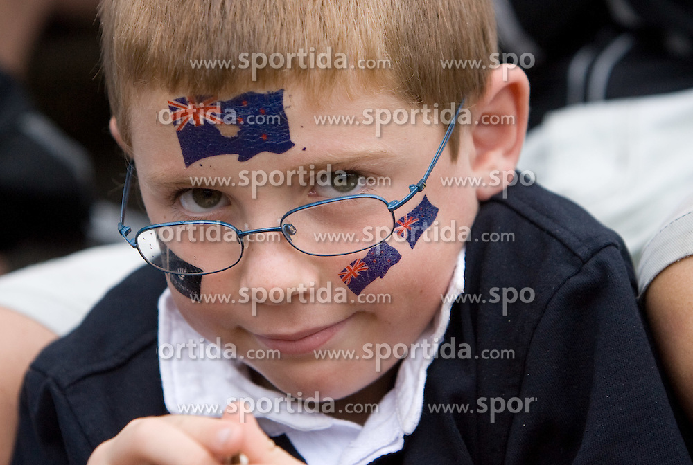 Young New Zealand's fan in finish area during finals at Rowing World Cup  on May 30, 2010, at Bled's lake in Zaka, Bled, Slovenia. (Photo by Vid Ponikvar / Sportida)