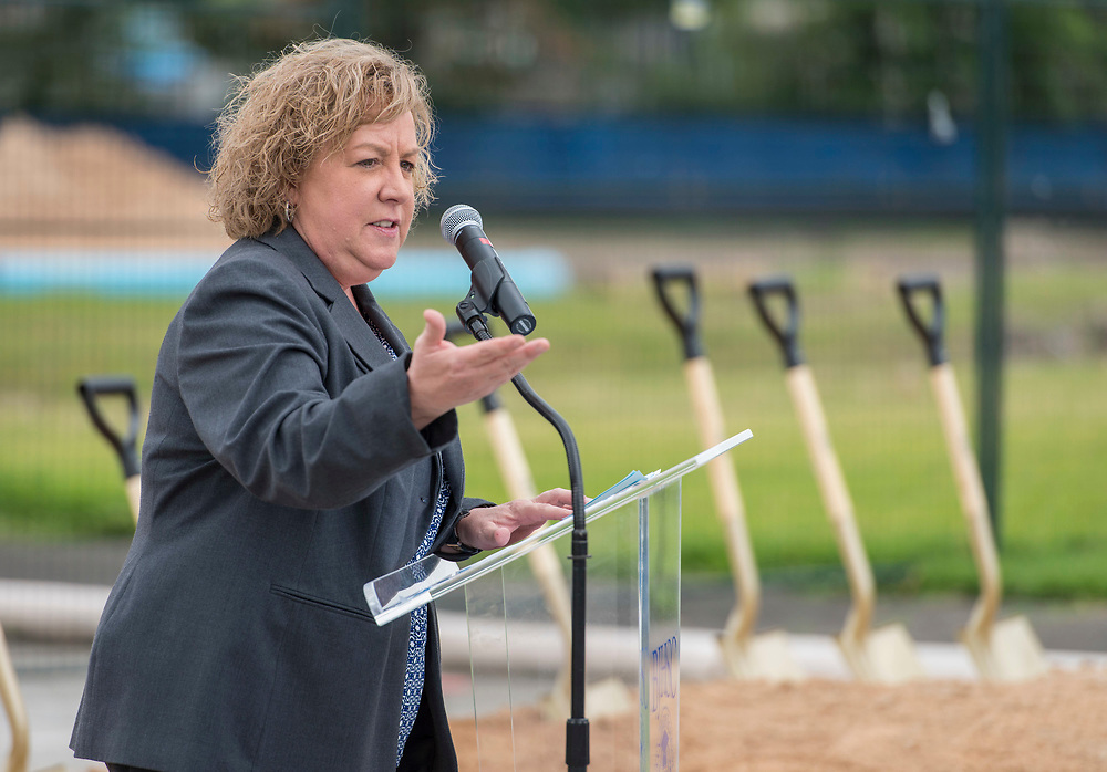 Julia Dimmett comments during a groundbreaking ceremony at Barbara Jordan Career Center, May 9, 2017.