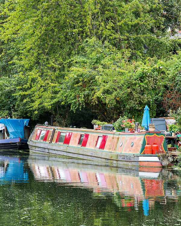 A houseboat moored on the Regent's Canal in London