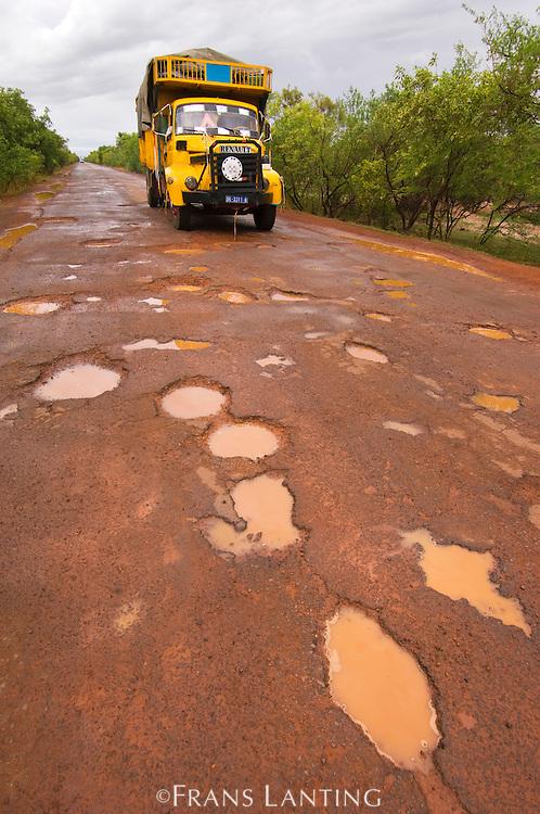 Potholes in main road from Senegal to Mali, Senegal