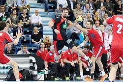 03.04.2016, Schwalbe Arena, Gummersbach, GER, Testspiel, Deutschland vs Oesterreich, im Bild Fabian Wiede (#10, Deutschland) beim Wurf // during the International Handball Friendly Match between Germany and Austria at the Schwalbe Arena in Gummersbach, Germany on 2016/04/03. EXPA Pictures © 2016, PhotoCredit: EXPA/ Eibner-Pressefoto/ Deutzmann<br /> <br /> *****ATTENTION - OUT of GER*****