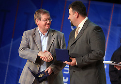 Trevor Millar and Vladimir Kevo at  Slovenian sportsman of the year 2008 ceremony, on December 22, 2008, in Cankarjev dom, Ljubljana, Slovenia. (Photo by Vid Ponikvar / SportIda).