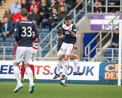 Falkirk's Will Vaulks and Falkirk's Jonathan Flynn collide.<br /> Falkirk 1 v 1 Hamilton, Scottish Premiership play-off semi-final first leg, played 13/5/2014 at the Falkirk Stadium.
