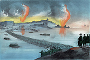 Crimean War 1853-1856: Russians, having destroyed as much as possible and scuttled their fleet, abandoning the main southern part of Sebastapol for the northern forts, 8 September 1855. Hand-finished lithograph c1857.