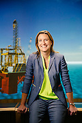 """Starlee Sykes, Vice President of Projects Performance at British Petroleum, is photographed on Wednesday afternoon May 20, 2015 at BP's headquarters in Houston, TX. Sykes, who oversees many of BP's deepwater projects, is photographed in front of a 3D """"walk through"""" deepwater drilling rig.<br /> <br /> Nathan Lindstrom Photography<br /> <br /> ©2015 Nathan Lindstrom"""