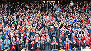 Bournemouth fans celebrate after winning the Sky Bet Championship title after the Sky Bet Championship match between Charlton Athletic and Bournemouth at The Valley, London, England on 2 May 2015. Photo by David Charbit.