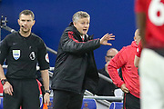 Manchester United interim Manager Ole Gunnar Solskjaer gestures during the Premier League match between Cardiff City and Manchester United at the Cardiff City Stadium, Cardiff, Wales on 22 December 2018.