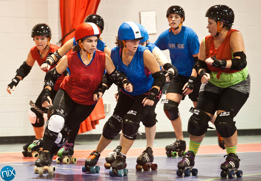 Leslie Jenkins, of the Charlotte Speed Demons, started competing in roller derby in June.  (photo by James NIx)