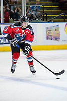 KELOWNA, CANADA - AUGUST 30:  Riley Stadel #3 of the Kelowna Rockets skates with the puck against the Kamloops Blazers on August 30, 2014 during pre-season at Prospera Place in Kelowna, British Columbia, Canada.   (Photo by Marissa Baecker/Shoot the Breeze)  *** Local Caption *** Riley Stadel;