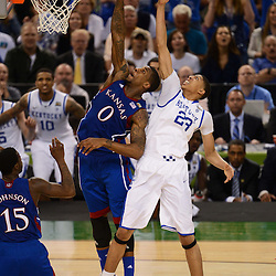 Apr 2, 2012; New Orleans, LA, USA; Kansas Jayhawks forward Thomas Robinson (0) and forward Anthony Davis (23) go for a rebound during the second half in the finals of the 2012 NCAA men's basketball Final Four at the Mercedes-Benz Superdome. Mandatory Credit: Derick E. Hingle-US PRESSWIRE